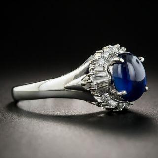 Platinum Cabochon Sapphire Diamond Ring