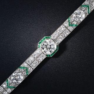 Platinum Diamond and Calibre Emerald Art Deco Bracelet - 1