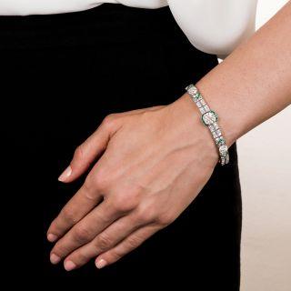 Platinum Diamond and Calibre Emerald Art Deco Bracelet