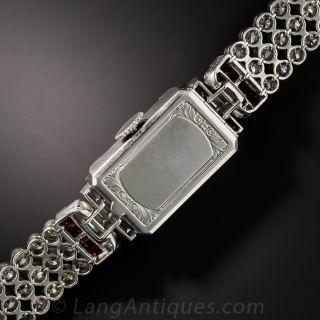 Platinum Diamond and Calibre Ruby Bracelet Watch - C.H. Meylan