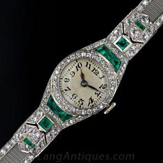 Platinum Diamond and Emerald Art Deco Watch with Mesh Band