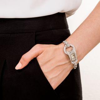 Platinum Diamond Art Deco Bracelet Watch