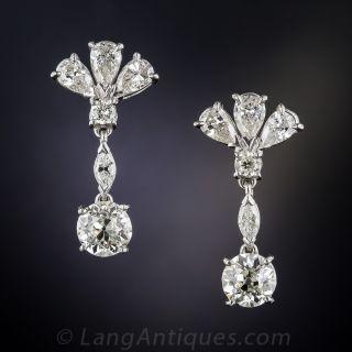 Platinum Diamond Drop Earrings - 2