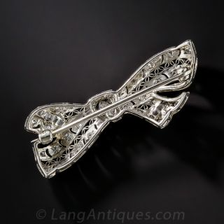 Platinum Diamond Edwardian/Art Deco Bow Pin