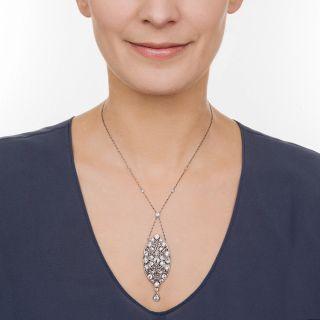 Platinum Diamond Edwardian Lavaliere Necklace