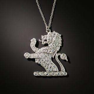 Platinum Diamond Lion Rampant Pendant - 2