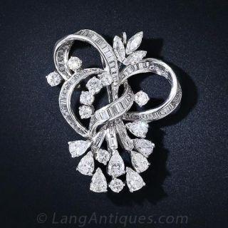 Platinum Diamond Pendant Brooch c. 1950's - 1