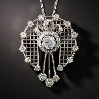 Platinum Diamond Pendant Necklace Brooch  - 2