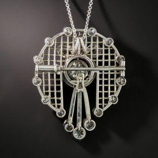 Platinum Diamond Pendant Necklace Brooch