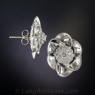 Platinum Diamond Pinwheel Cluster Earrings