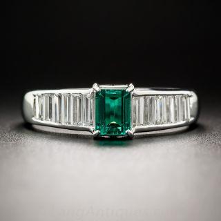 Platinum Emerald and Baguette Diamond Ring - 1