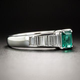 Platinum Emerald and Baguette Diamond Ring