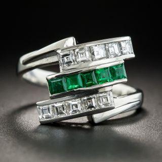 Platinum Emerald and Diamond Art Deco Style Ring - 1