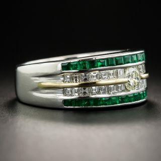 Platinum Emerald and Diamond Band Ring