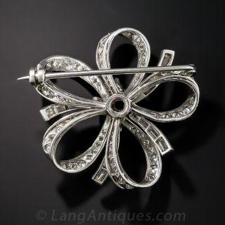 Platinum Emerald and Diamond Bow Pin