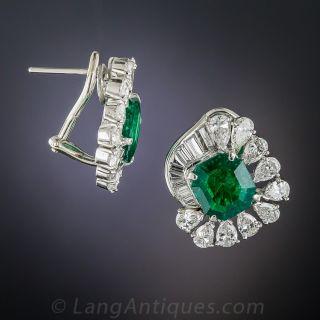 Platinum Emerald and Diamond Earrings