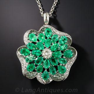 Platinum Emerald and Diamond Flower Necklace - 1