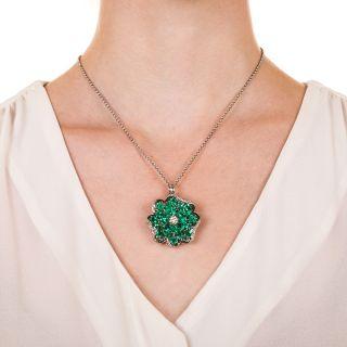 Platinum Emerald and Diamond Flower Necklace