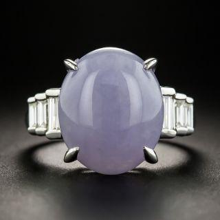 Platinum Lavender Jade and Diamond Ring - 1