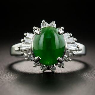 Natural Jade Platinum Diamond Ring - 1