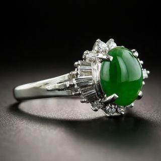 Platinum Natural Jade and Diamond Ring