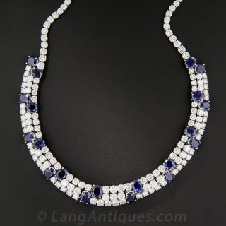 Platinum Natural No-Heat Sapphire and Diamond Necklace - 4