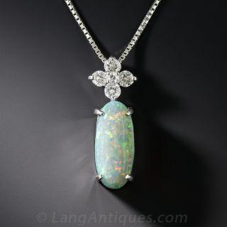 Platinum Opal and Diamond Pendant  - 1