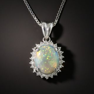 Platinum Opal and Diamond Pendant
