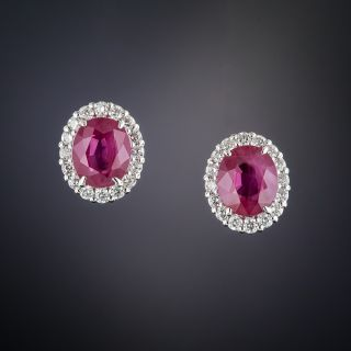 Platinum Oval Ruby with Diamond Halo Earrings - 1