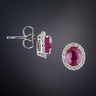 Platinum Oval Ruby with Diamond Halo Earrings