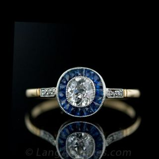 Platinum  over Gold Art Deco Style Diamond and Sapphire Ring Main View 1