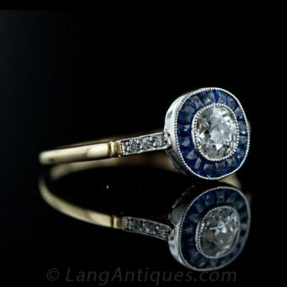 Platinum  over Gold Art Deco Style Diamond and Sapphire Ring