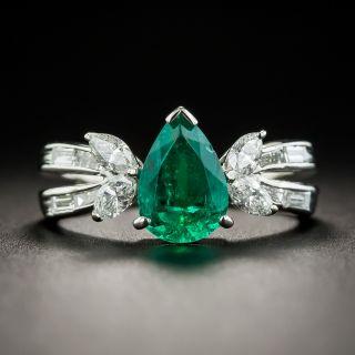 Platinum Pear Shape Emerald Platinum Diamond Ring - 1