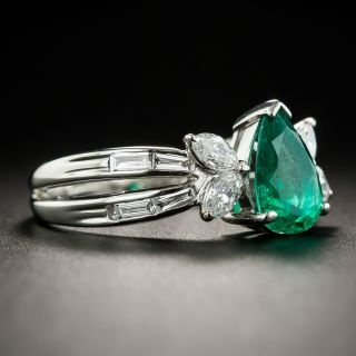 Pear Shape Emerald Platinum Diamond Ring