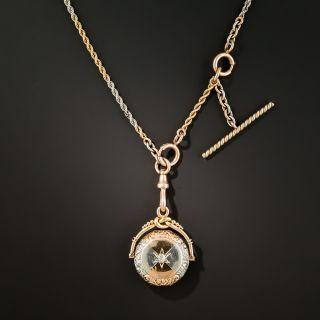 Platinum & Rose Gold Fob Pendant Locket Watch Chain Necklace  - 1