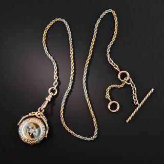 Platinum & Rose Gold Fob Pendant Locket Watch Chain Necklace