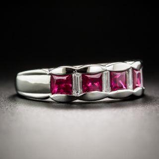 Platinum Ruby and Diamond Band Ring