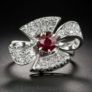 Platinum  Ruby and Diamond Cocktail Ring