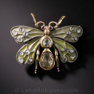 Plique-a-Jour Enamel and Rose-Cut Diamond Butterfly Brooch