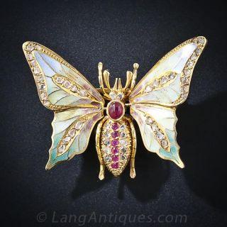 Plique-a-Jour Enamel Butterfly Pin