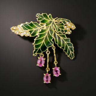 Plique-à-Jour Grape Leaf Brooch - 1