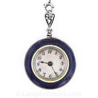 Purple Enamel Pendant Watch Necklace