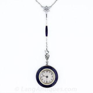 Purple Enamel Pendant Watch Necklace - 4