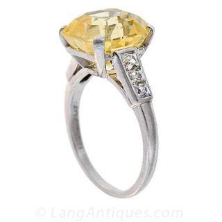 Quintessential Art Deco Yellow Sapphire and Diamond Ring