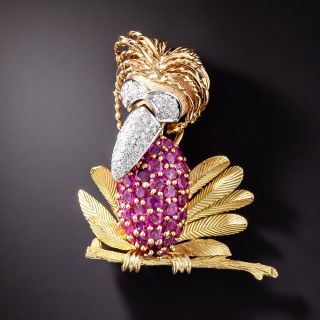 Quirky Diamond and Ruby Bird Brooch - 2