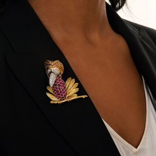 Quirky Diamond and Ruby Bird Brooch
