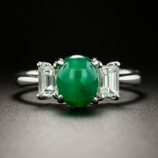 Rare Emerald Cat's Eye Cabochon and Diamond Ring