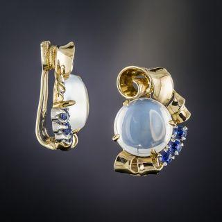 Raymond Yard Moonstone and Sapphire Earrings