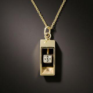 Old Mine Cut Diamond Rectangular Pendant - 2