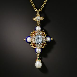 Renaissance Revival Sapphire, Diamond, Enamel and Pearl Pendant - 1